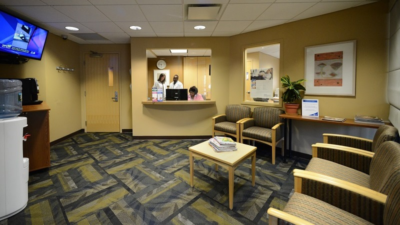 Waiting area at the Center for Sleep Medicine