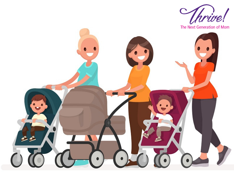 illustration of moms with strollers