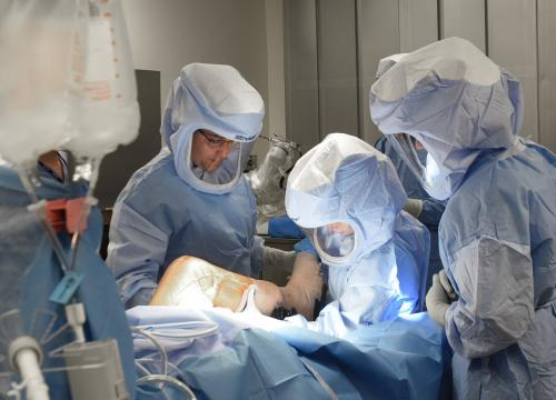 Dr. Anthony Delfico, Director of Orthopedics at The Valley Hospital, performs a knee replacement procedure